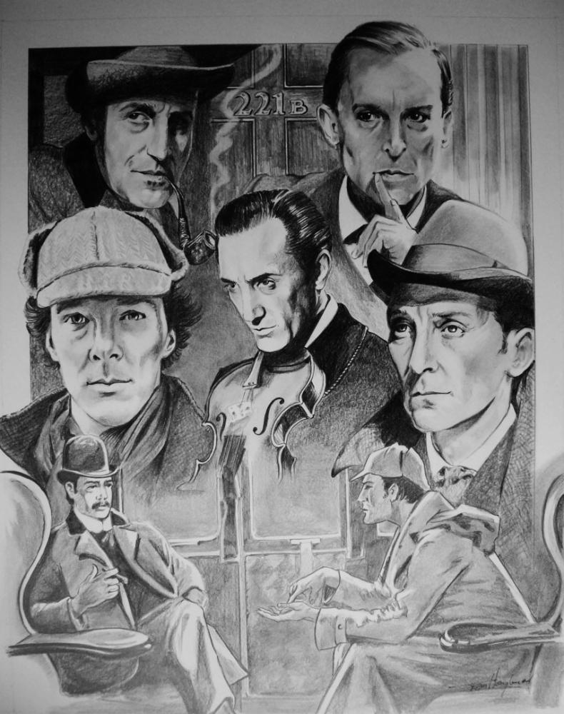 Peter Cushing, Basil Rathbone, Benedict Cumberbatch, Jeremy Brett, Douglas Wilmer by Tom-Heyburn